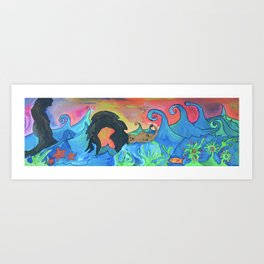 Lucky Otter Floats Wistfully Past Point of the Arches Art Print