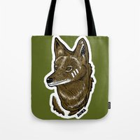 coyote Tote Bags featuring Coyote by Sergio Campos