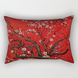 Almond Tree in Blossom - Red Motif by Vincent van Gogh Rectangular Pillow