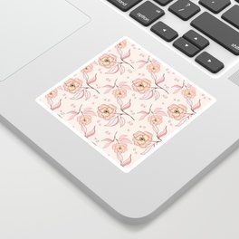 Pink Peony Kiss Floral Pattern Sticker