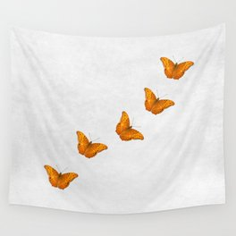 Beautiful butterflies on a textured white background Wall Tapestry