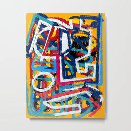 Yellow Life Graffiti Abstract Street Art by Emmanuel Signorino© Metal Print