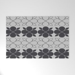 Black and Grey Flower Tile Welcome Mat