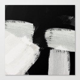 brush stroke black white painted Canvas Print