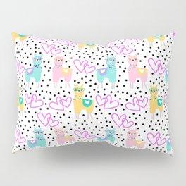 Funny cute teal pink romantic lama black polka dots Pillow Sham