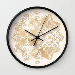 White Doodle Pattern on Sepia Watercolor Ink - neutral tan, cream & brown Wall Clock