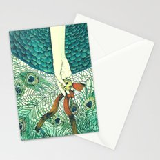 Golden bell and peacock feathers Stationery Cards