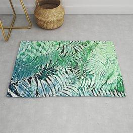 Blue Green Ferns Rough Pastel  Texture Pattern Rug