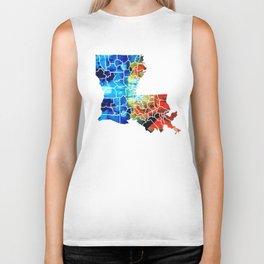 Louisiana Map - State Maps By Sharon Cummings Biker Tank