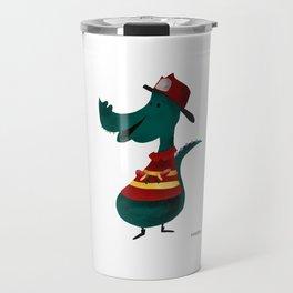 Fire Department T-Rex Dino Comic cartoon kids gift Travel Mug