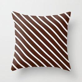Cocoa Diagonal Stripes Throw Pillow