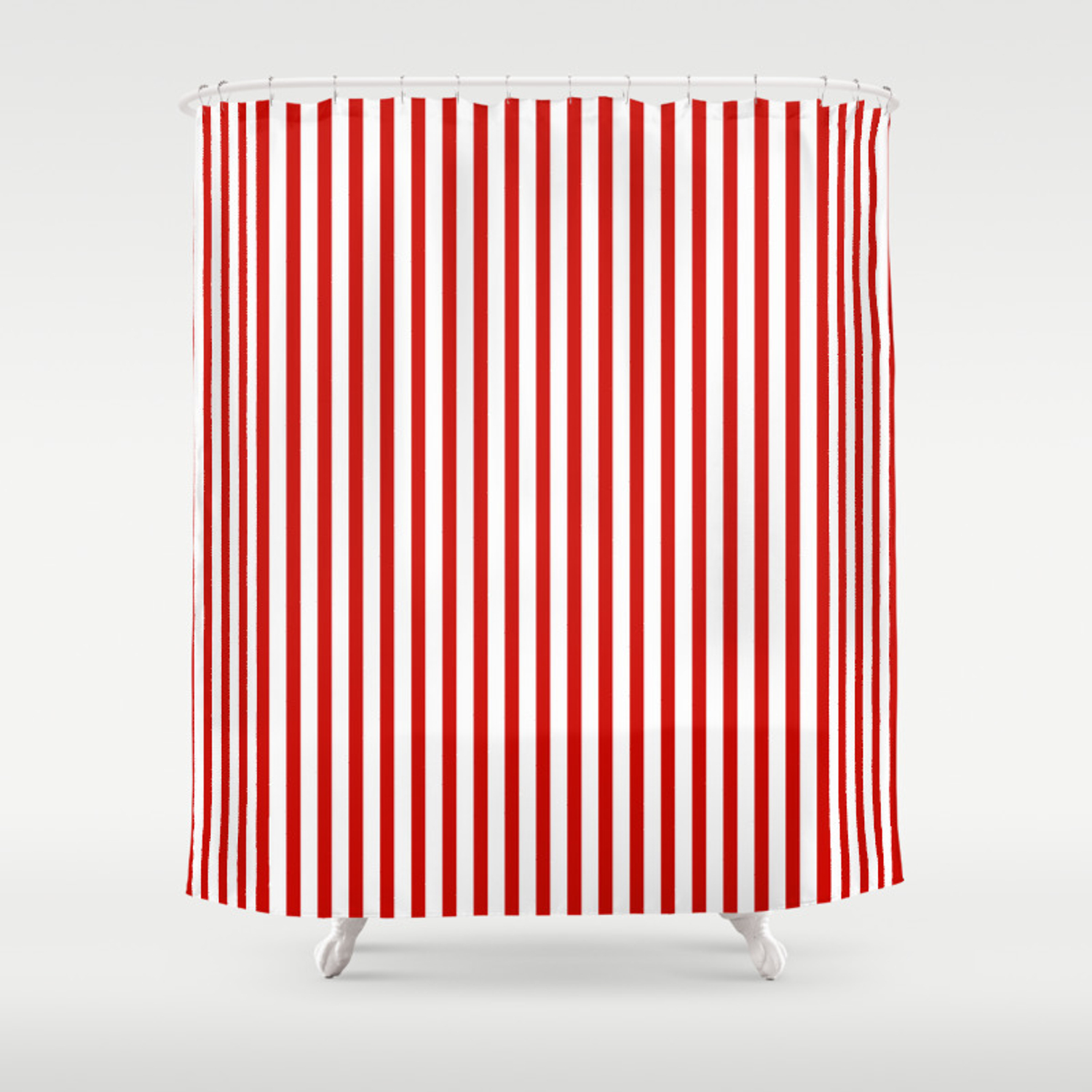 Red White Maritime Vertical Small Stripes Mix Match With Simplicity Of Life Shower Curtain