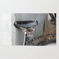 copenhagen Area & Throw Rugs featuring Rusty bike Copenhagen by RMK Photography