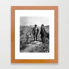 Teddy Roosevelt and John Muir - Glacier Point Yosemite Valley - 1903 Framed Art Print