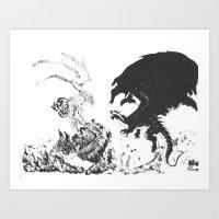 Epic Dragon Clash Art Print