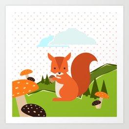 Squirrel and Rainbow , nursery decor Art Print