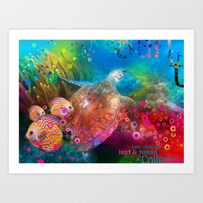 Sea Turtle In Living Color Art Print