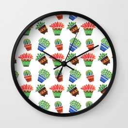 Whimsical orange green watercolor hand painted cactus floral Wall Clock