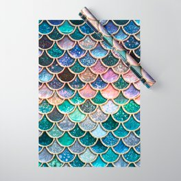 Multicolor Pink And Aqua Mermaid Scales - Beautiful Abstract Glitter Pattern  Wrapping Paper