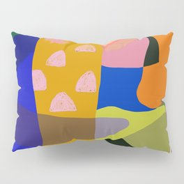 Shapes and Layers no.20 - Abstract painting olive green blue orange black Pillow Sham