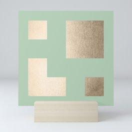 Simply Geometric White Gold Sands on Pastel Cactus Green Mini Art Print