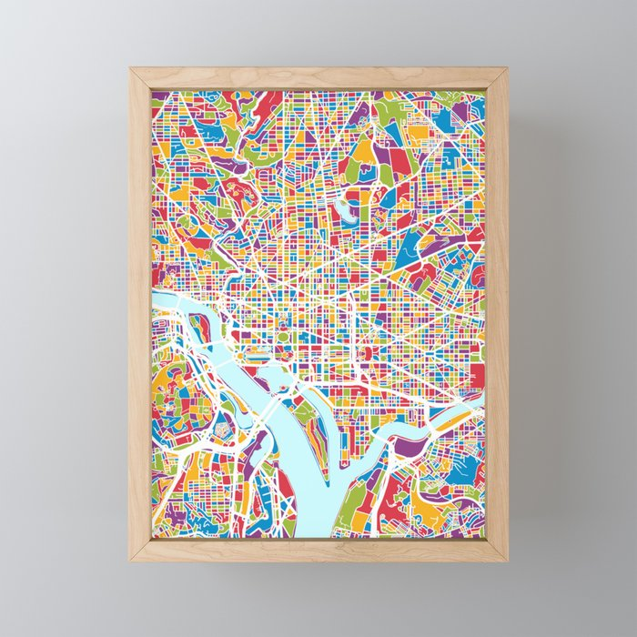 Washington Dc Street Map Framed Mini Art Print By Artpause Society6