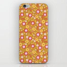 Autumn floral - mustard, ochre iPhone Skin