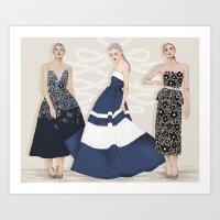 Black Tie Navy Blue Art Print