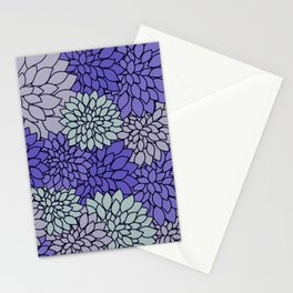 Ultra Violet Periwinkle Gray Dahlias Stationery Cards