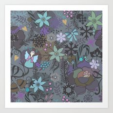 Colorful grey xmas pattern Art Print