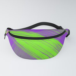 Delicate pillars of violet light from monochrome flowing lines on a satin fabric Fanny Pack
