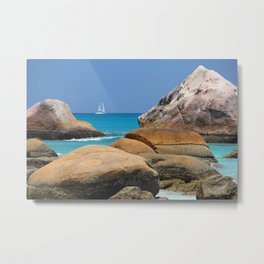 Huge rocks in Caribbean sea Metal Print