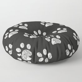 Doodle white paw print seamless fabric design repeated pattern Floor Pillow