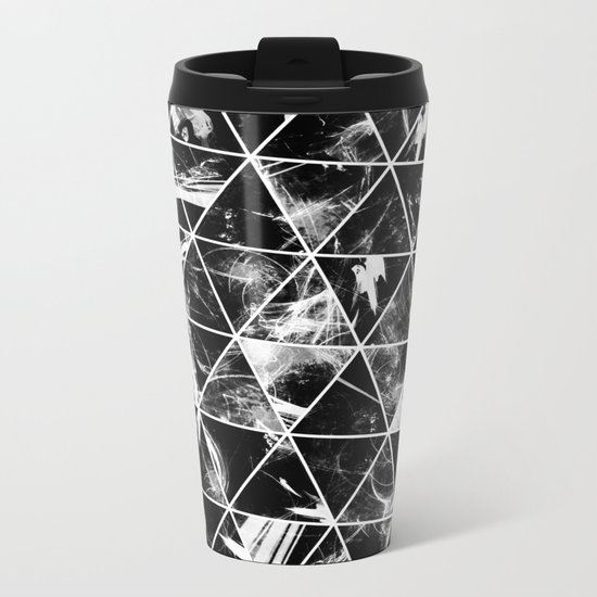 Geometric Whispers - Abstract, black and white triangular, geometric pattern Metal Travel Mug