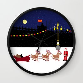 Santa in Madrid Wall Clock