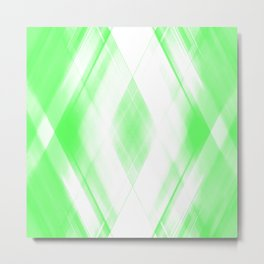Light warm triangular strokes of intersecting sharp lines with pistachio triangles and stripes. Metal Print