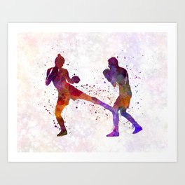 Woman boxer boxing man kickboxing silhouette isolated 02 Art Print