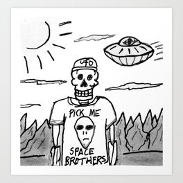 J Edgar Moonguts Sr. Dried Up in The Desert Waiting For Them To Come. Art Print
