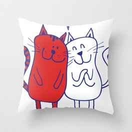 Cartoon Cat Lover Throw Pillow