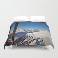 ski Duvet Covers featuring ski by ViiGlory