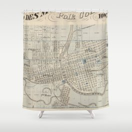 Vintage Map of Des Moines IA (1875) Shower Curtain