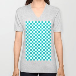 White and Cyan Checkerboard Unisex V-Neck