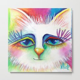 Twinkles Abstract Art Cat Painting  Metal Print