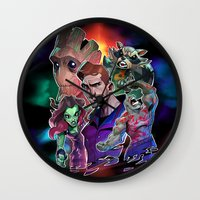 guardians of the galaxy Wall Clocks featuring Guardians of the Galaxy by Max Grecke