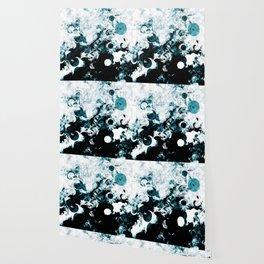 Modern Splash of Turquoise Black White Design Wallpaper