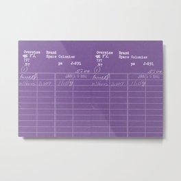Library Card 797 Negative Purple Metal Print