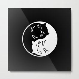 YinYang Cats Metal Print