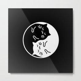 YinYang Cats Metal Print