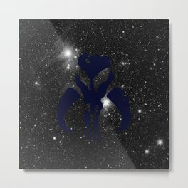 Navy Mythosaur Skull on Stars Metal Print