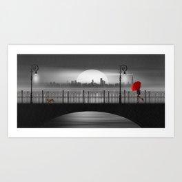 The bridge in the summer rain Art Print